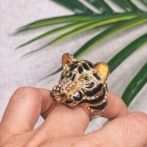 ALDO Tiger Head Embellished Gold Wild Side Ring